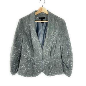 Sequin Blazer Suit Jacket in Grey
